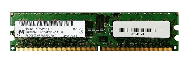 Memory RAM 1x 4GB Micron ECC REGISTERED DDR2  800MHz PC2-6400 RDIMM | MT36HTF51272PY-80EH1